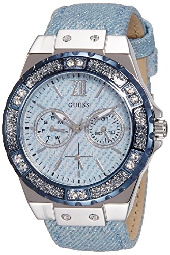 Guess Women's Quartz Watch with Blue Dial Analogue Display and Blue Stainless Steel Bracelet W0775L1