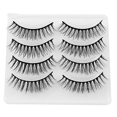 Falsche Wimpern, Rifuli® 4Pair Luxus 3D falsche Wimpern flauschigen Streifen Wimpern lange natürliche Party Natürliche Wimpern Wimpern handgemachte 3D Falsche Wimpern Wiederverwendbare