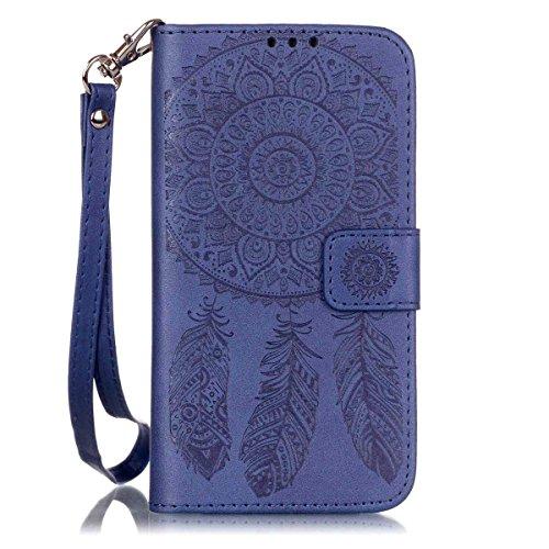 Galaxy S7Case, S7, jancalm [Handschlaufe] Premium PU Leder [Äolischen Glocken Serie] Wallet [Multi Card/Cash Slots] Ständer Flip Cover für Samsung Galaxy S7+ Crystal Pen, Blau