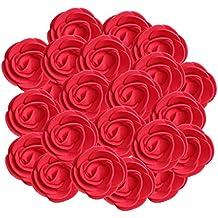 Gazechimp 100 Piezas Cabeza de Flor de Rosa Artificial de Espuma DIY Artesanía Favor Decoración de Banqute Boda - Rojo