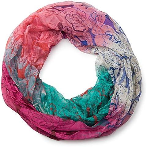 styleBREAKER fular de tubo con motivo de rosas en diseño en arte pop, tela crash y arrugada, ligero y sedoso, mujeres 01016099
