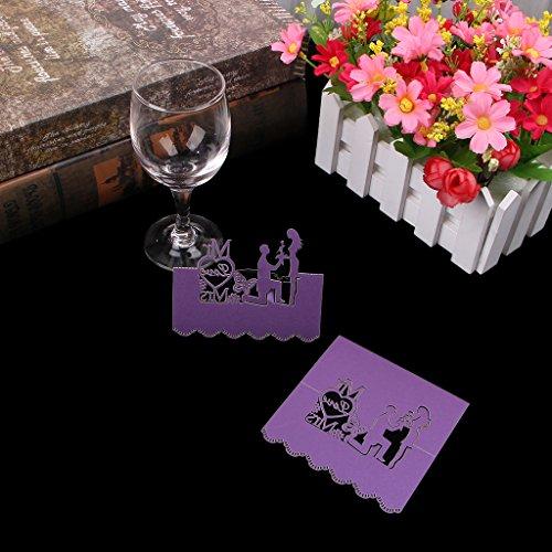 Manyo 50 Stück Tischkarten, Herr & Frau Dekor, 3 Farben für die Auswahl, ideale Dekoration und Geschenk für Hochzeitstag, Hochzeit, Geburtstage, Party, Festival. (Lila)