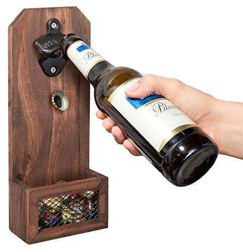 Cucina di Modena Flaschenoeffner: Flaschenöffner mit Kronkorken-Auffangbehälter, Holz, zur Wandmontage (Wandflaschenöffner)