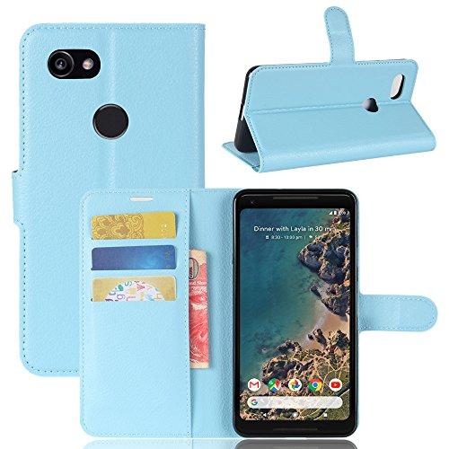 GOGODOG Google Pixel 2 XL Hülle Ultra Schlank Leder Stoßstange Voll Karosserie Schutz Brieftasche Geschäft Stil mit Stand Funktion Und Auto Schlaf Aufwachen Oben (Blau) -