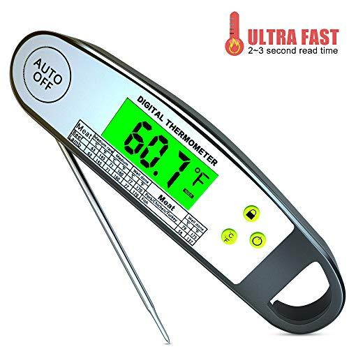 MCvilla Bratenthermometer Grillthermometer küche Grill Thermometer digital fleischthermometer temperatur Haushaltsthermometer Küchenwecker, Sofortiges Auslesen für BBQ Steak Tee
