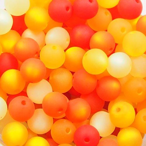 20 Stück echte original Polarisperlen Perlenmix Perlenmischung Perlen Perlenset 8 mm, orange, Perlen aus deutscher Produktion