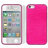 [ 2er Pack Set Hülle + Folie ] iPhone 4, 4S Panzerglas Displayschutzfolie, Schutzcover Bumper, Handyhülle aus Silikon Cover Rückschale Pink, iPhone 4, 4S (3,5 Zoll (8,9 cm)