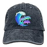 Hoswee Baseballmütze Hüte Kappe Psychedelic Dolphins Plain Adjustable Cowboy Cap Denim Hat for Women and Men