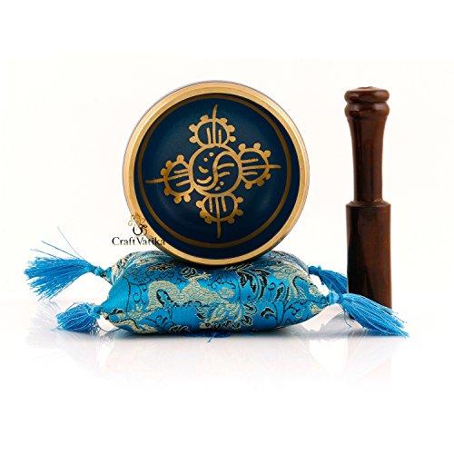 CraftVatika ~ Conjunto tibetano del tazón de fuente del canto ~ Om Mani Padme Humcon ~ con mazo y cojín de seda ~ para meditación, curación de chacras, oración, yoga, y mindfulness ~ regalo perfecto, azul