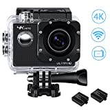 IceFox Action Kamera 4K WIFI Wasserdicht Ultra HD 24fps Optional Bildauflösung Sport Cam mit 2...