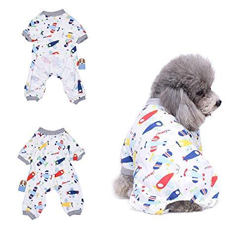 Fett Streifen-baumwoll-shirt (Flugzeug Schlafanzug Hund Kleidung angenehm Puppy pyjamsa Weich Hund Jumpsuit Shirt 100% Baumwolle Mantel für kleine Hunde und Katzen von hongyh)
