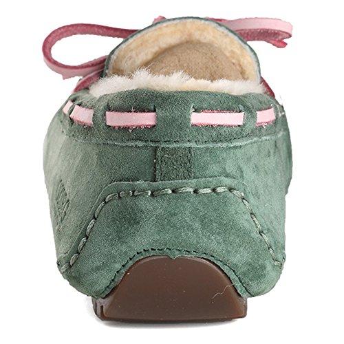 OZZEG Confort décontracté école en cuir plates mocassins féminin chaussures doublure en peau de mouton vert foncé