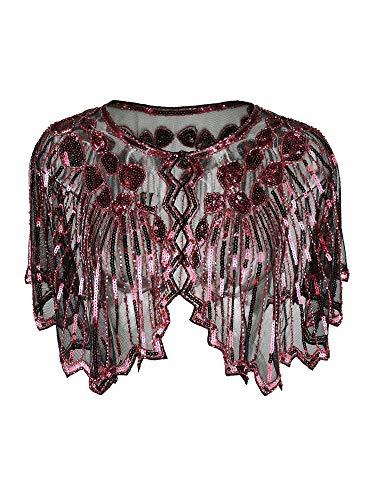 Grouptap Années 1920 Rouge Gatsby châle boléro Paillette Cape Haussement d'épaules pour Les Femmes Dames clapet Art déco Robe Vintage Costume (Rouge, Taille Unique)