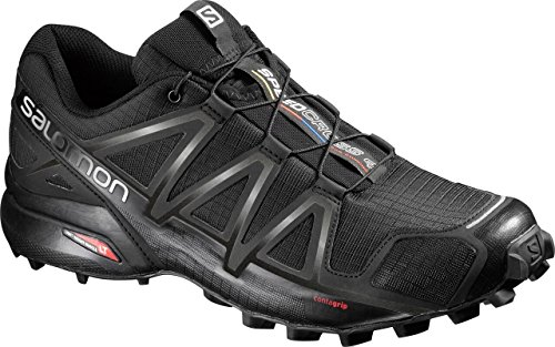 Salomon Speedcross 4 Herren Trailrunning-Schuhe, Black/Black/Black Metallic, 44 EU