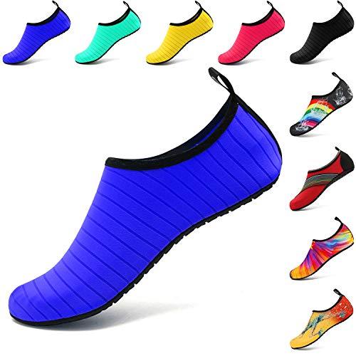 Vifuur scarpe da sport acquatici barefoot quick-dry aqua yoga slip slip-on per uomo donna bambino blu eu 36-37