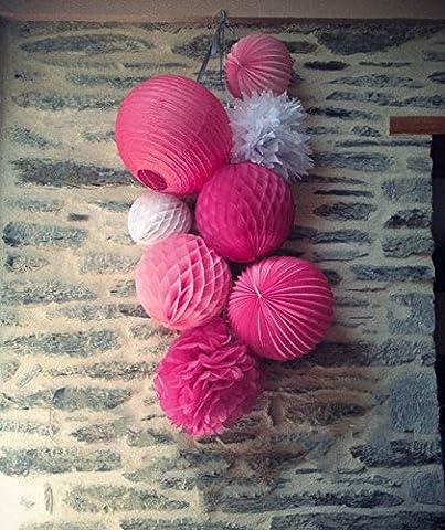 Decoration Fushia Lanterne Papier Pompon de Soie Fleur Boule Alveole pour Communion Mariage Anniversaire Chambre Salle Fete (8 pcs)