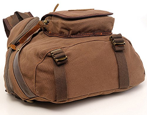 Zerlar Mens Chest Sling Bag Leinwand Military Messenger Schulter Reise Wandern Rucksack Khaki