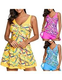 2609b698e2 Gihorry Womens Floral Tankinis V Neck Bikini Sets High Waist Swimsuits  Skirted Beachwear Padded Bathing Suit Strap…