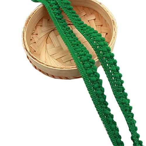 Yalulu 20 Yards Mini Pompon Fransiges Bällen Trim Band für Kleidung DIY Fertigkeit und Dekorieren Nähen Zubehörteil (Grün) -