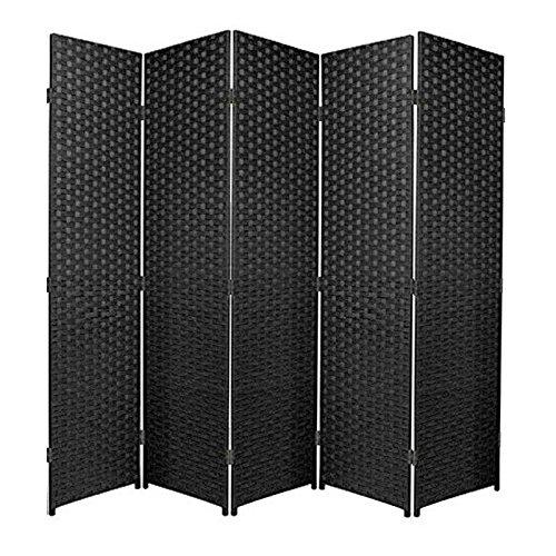 Biombo de rafia ideal para separar ambientes o habitaciones en color negro, haya, 3 Panel
