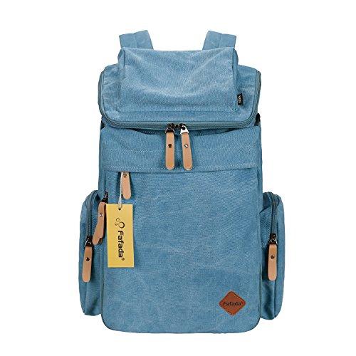 Imagen de fafada unisex canvas vintage retro plegable para senderismo excursion deportes al aire libre bolsa de viaje lona azul