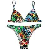 QingJiu Frauen Blumendruck Bikini Badeanzug Bikini Beachwear Bademode Badeanzug (Small, Grün)