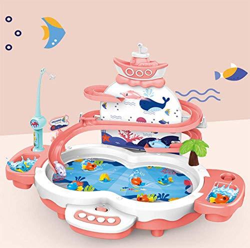 OOFAY Kinder Angeln Spiel, Magnetisches Fischbrettspiel, Magnetisches Angelspielzeug mit Angelrute, Hobbyspielzeug,Rosa