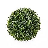 artplants - Künstliche Buchsbaumkugel FRITZ, Kunststoffgitter, dunkelgrün, Ø 20 cm - Kunstpflanze / Künstlicher Buchs