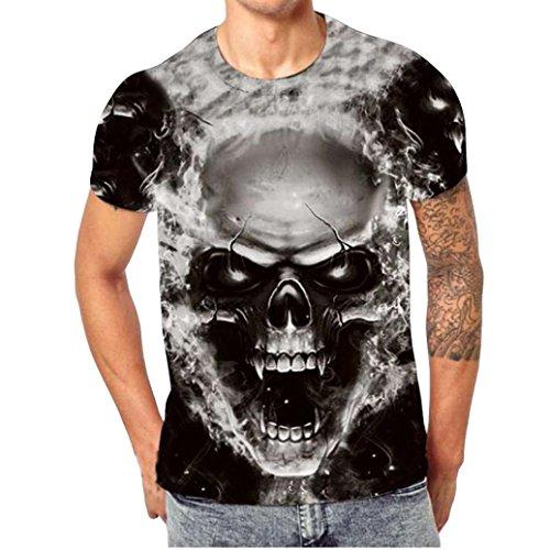 ZARLLE Camiseta Hombre, Casual Skull Impresion 3D Tees De Tallas Grandes Camiseta para Hombre tee Cuello Redondo Tops Camisetas Ropa Hombre Deportiva 2018 Ofertas (XXXXL, Negro)