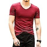 Bonboho Herren Shirts V-Ausschnitt Kurzarm Slim Fit T-Shirt Sweatshirt Einfarbig Männer Sommer Oberteiler