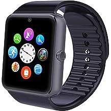 Smart Watch Willful inteligente reloj de Bluetooth pulsera Fitness Tracker Deportes reloj teléfono con SIM tarjeta/TEXT/WhatsApp/Contador de pasos/Monitor de sueño/Despertador vibración con el teléfono inteligente Android (SW016-BK)