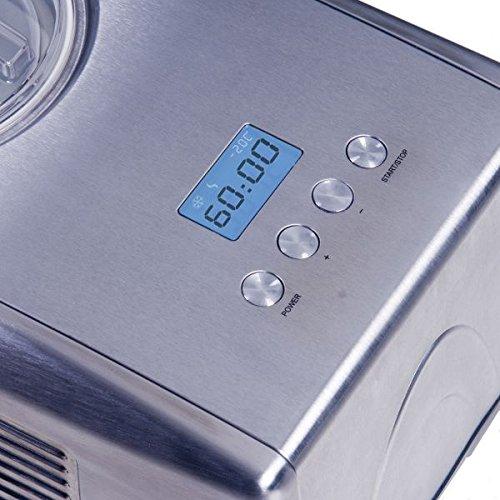Digitale Edelstahl Eismaschine und Joghurt Bereiter mit Kompressor Gino Gelati IC-250W Helado