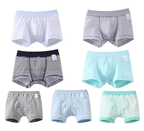 Ding-dong Enfant Garçon Coton Rayé Slips Boxers Sous-vêtement Lot de 7(3-4Ans)