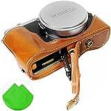 First2savvv XJD-X70-HH09 brun Qualité supérieure PU cuir étui housse appareil photo numérique pour Fujifilm Fuji X70 + Cleaning cloth