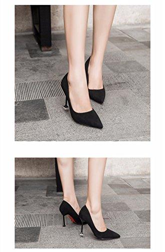 FLYRCX In stile europeo shallowly suede suede comfort tacco alto scarpe sexy party di personalità scarpe B