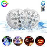 Submersible Led Lights,Botee Underwater Lights with IR Remote Controlled 10-LED RGB Powered by AAA Battery (Not Included) for Halloween, Christmas Swimming Pool and Home Decorations 2 Packs
