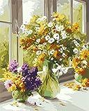 [Holzrahmen] DIY ölgemälde, Malen nach Zahlen Kits- Die Blumen bluhen in einem Vase(17) 16*20 inch