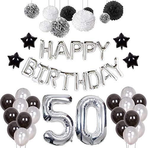 Weimi 50. Geburtstag Dekorationen für Mann Happy Birthday Banner Bday Dekorationen für Männer (48 PCS)