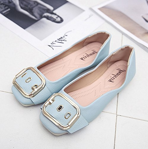 RUGAI-UE Appartamenti di studenti estate bocca poco profonda fibbia scarpe comode scarpe per le donne in stato di gravidanza Blue