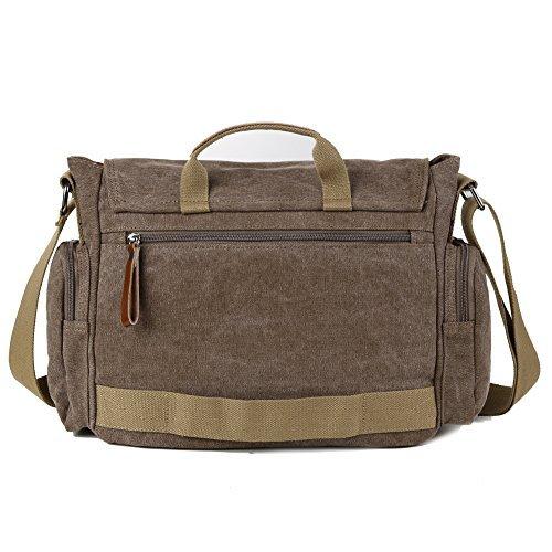 Borsa uomo-borsa a Spalla per la Scuola Militare Tela Bag Tracolla Messenger (Caffe') Caffe'