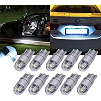 Tuincyn - Lampadina bianca a LED per interni auto T10W5W 30302SMD, luce di ricambio a cupola per targa, 360lumen, luce di retromarcia, luci laterali di direzione (confezione da 2)