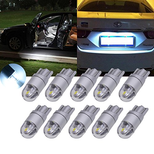 TUINCYN T10 W5W 3030 2SMD Bombilla LED de luz blanca de repuesto de interior de coche, luz de techo de 360lúmenes; luces para la matrícula, luces de estacionamiento y marcadores laterales (Pack de 2)