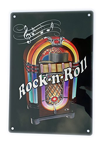 Stoneys Badges Rock and Roll Juke Box, bedrucktes Metallschild, Wanddekoration, Musik 1950er Jahre, lustiger Humor Witz