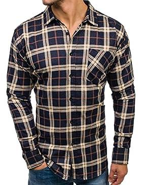 BOLF Hombre Camisa de Algodón A Cuadros Manga Larga 2B2