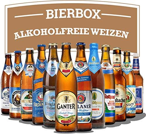 Alkoholfreie Weizen Bier Auswahl - 12 verschiedene, feine Flaschen (je 0,5l MEHRWEG) alkoholfreier Deutscher Biere ideal für Sportler oder als Geschenk