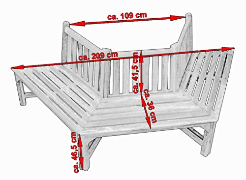 KMH® 180° Baumbank sechseckig aus Teakholz - 3