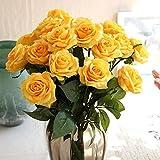 Kolylong Fleur Artificielle Bouquet Fleur De Rose Et Feuille Verte DéCoration PE Maison Mariage Accessoire (43 cm/ 17-10pc, Jaune)