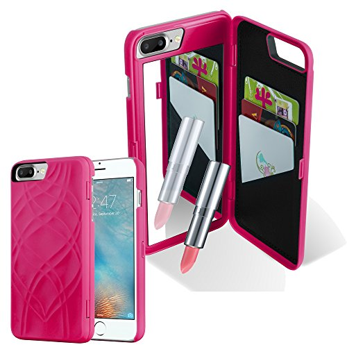 Preisvergleich Produktbild Cadorabo Hülle für Apple iPhone 8 Plus / iPhone 7 Plus / iPhone 7S Plus - Hülle in PINK – Handyhülle mit 3 Kartenfächern und Spiegel - Hard Case TPU Silikon Schutzhülle