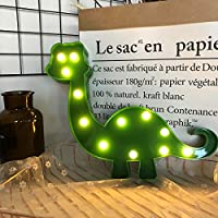 Dinosaur LED Night Light Cute Dinosaur Shaped Sign Light Table Desk Lamp Battery Operated Marquee Animal Sign Light Indoor Lighting for Birthday Christmas Home Decoration(Green)