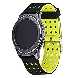 Greatfine Uhren-Armband-Armband-Handgelenk-Bügel für Samsung Gear S2 Classic und Moto 360 2nd 42mm Männer/Huawei Watch 2/Samsung Gear Sport(BlackYellow)